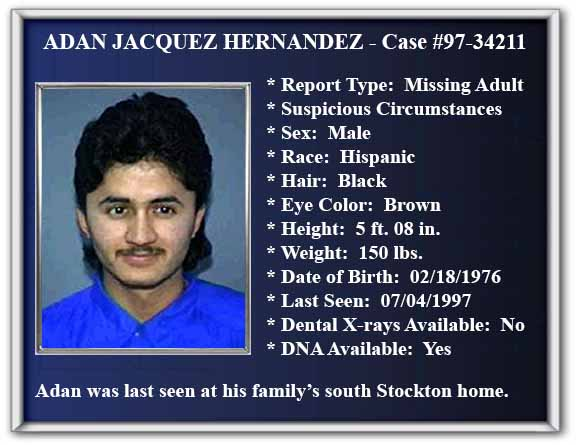 Missing Person Flyer of Adan Jacquez Hernandez