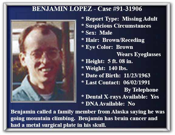 Missing Person Flyer of Benjamin Lopez