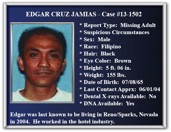 Missing Person Flyer of Edgar Cruz Jamias
