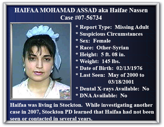 Missing Person Flyer of Haifaa Mohamad Assad