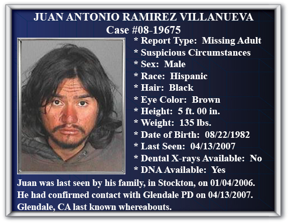 Missing Persons Flyer of Juan Antonio Ramirez Villanueva