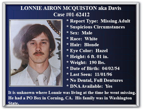 Missing Person Flyer of Lonnie Airon McQuiston aka Davis