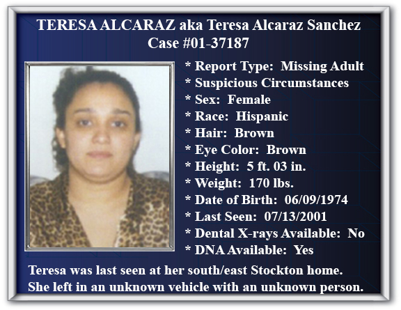 Missing Persons Flyer of Teresa Alcaraz