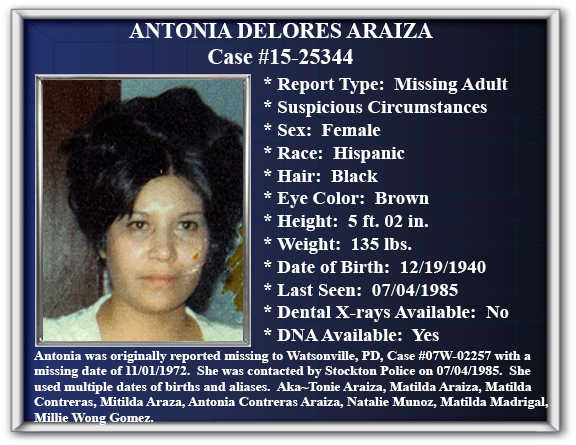 Missing Persons Flyer Of Antonia Araiza  Missing Person Flyer