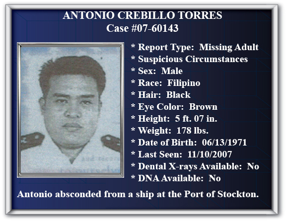 Missing Person Flyer of Antonio Crebillo Torres