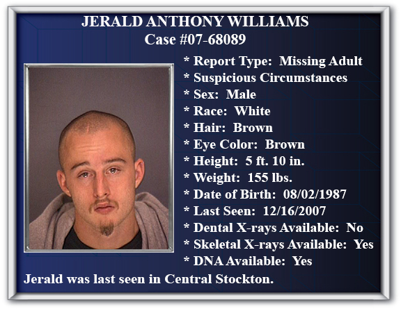 Missing Persons Flyer Of Jerald Anthony Williams  Missing Person Flyer