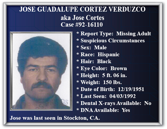 Missing Persons Flyer Of Jose Guadalupe Cortez Verduzco  Missing Person Flyer