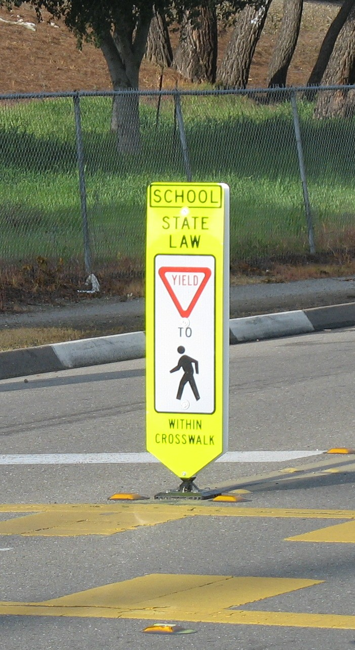 In Pavement School Crossing Sign